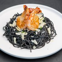 Ink Pasta with Prawns<br>虎蝦墨魚汁意粉